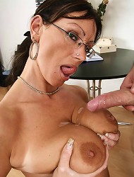 Pandora sucking on cock then gets her melons...