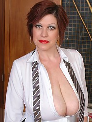 Trudi Stephens shows her funbags and dildo...